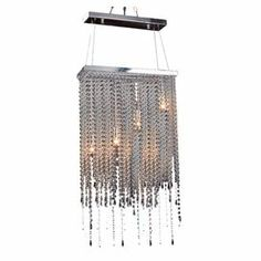 "4-light chandelier with a rectangular frame and hanging crystal strands.   Product: ChandelierConstruction Material: Crystal and metalColor: ClearFeatures: 34"" CordAccommodates: (4) 40 Watt bulbs - not includedDimensions: 35"" H x 19.6"" W x 7.4"" D"