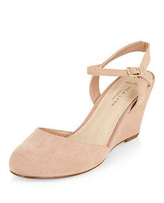 Wide Fit Stone Comfort Suedette Two Part Wedges  | New Look