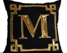 Gold Monogram Pillow Cover -Personalized Gift -Sequin Pillow -Throw Pillow Gold Pillow Decorative Pillows, Monogram Cushion Gifts For Her Teal Throw Pillows, Monogram Pillows, Black Pillows, Gold Pillows, Personalized Pillows, Personalized Gifts, 20x20 Pillow Covers, Decorative Pillow Covers, Bolster Pillow