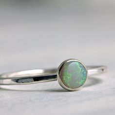 Opal Ring in Sterling Silver. $42.00, via Etsy. So pretty.