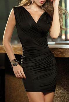 $7.70 Alluring V-Neck Ruffled Sleeveless Bodycon Dress For Women