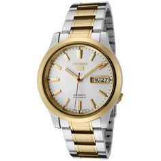 Seiko Men's SNK790 Seiko 5 Automatic White Dial Two-Tone Stainless Steel Watch Seiko. $124.76. Precise 21-jewel Japanese-automatic movement; functions without a battery; powers automatically with the movement of your arm. White dial with gold-tone hands and hour markers; luminous; gold-tone stainless steel bezel and crown; exhibition case back. Water-resistant to 99 feet (30 M). Durable mineral hardlex crystal; brushed and polished two-tone stainless steel case and bracelet. Day ...