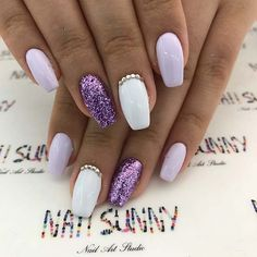Vibrant Purple Glitter Nails #acrylicnails