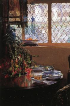 GUY ORLANDO ROSE  From the Dining Room Window (1910). Love the Christmas cactus with the droopy blooms.