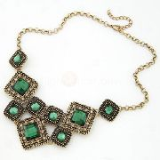 Vintage Acrylic Pendant Alloy Chain Sweater Necklace - $5.29