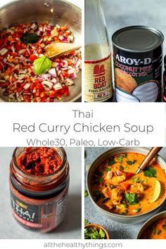 This Thai Red Curry Chicken Soup is perfect comfort food. Tender chicken, fresh veggies, creamy coconut milk, and red curry paste all come together to form a slightly sweet, slightly tangy, and flavorful soup. Instead of traditional noodles, this recipe uses zucchini noodles to add in even more fresh veggies and make it Whole30 compliant! #soup #whole30recipes #dairyfreerecipes #souprecipes #whole30 #glutenfreerecipes #healthyrecipes #chickensoup