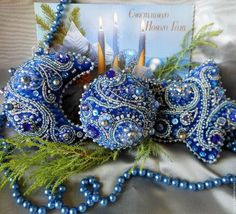 Yulia Onas-Ya is russian beadwork artist who makes beautiful embroidered Christmas Ornaments. Embroidered Christmas Ornaments, Sequin Ornaments, Fabric Ornaments, Vintage Christmas Ornaments, Felt Ornaments, Felt Christmas, Diy Christmas Ornaments, Handmade Christmas, Christmas Decorations