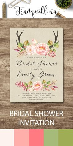 Boho Bridal Shower Invitation Printable, Woodland Watercolor Peony and Antlers Bridal Invite, Bohemian Wedding Ideas, Pink & Green DIY Party Invitations. You can find matching signs and cards on the following link: tranquillina.etsy.com