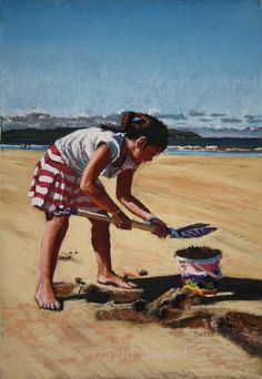 Sweet Sandcastles - Paintings Northern Irish, Northern Ireland, Scenery, Rest, Paintings, Play, Children, Young Children, Landscape