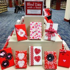 Valentine's Display for Library.  Blind date with a book.