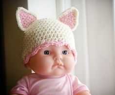 Crochet baby hat cat ears, size newborn (0-3 months)