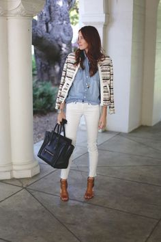 """Early spring outfit idea: Break out the white denim. """"Mixing white jeans into looks is my favorite way of transitioning from winter to spring. It pairs perfectly with prints and other shades of denim, making it extra easy to play around with layers."""" —Samantha, Could I Have That"""