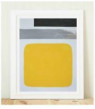 Abstract Modern Minimal  Painting 11 x 14 Original Acrylic on paper Yellow Black