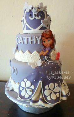 Princess Sofia the First birthday cake #birthdaycake #purple #fondantart #LYNAconcepts #madeinuganda