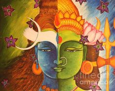 Ardhanarishwara - Shiva Shakti Shiva is the androgynous God of Gods. She/he split down the middle into Shiva and Parvati Lord Shiva Painting, Love Painting, Figure Painting, Shiva Art, Krishna Art, Shiva Shakti, Madhubani Art, Madhubani Painting, Indian Art Paintings