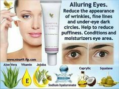 Reduce the appearance of wrinkles, fine lines and under eye dark circles. Help to reduce puffiness. Conditions and moisturizers eye area. Forever Living Aloe Vera, Forever Aloe, Forever Cosmetics, Aloe Lips, Forever Living Business, Aloe Vera Vitamin, Aloe Vera For Skin, Dry Skin Remedies, Spots On Face