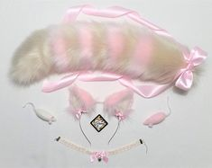 Items similar to Ivory and Pink Cat Ears and Tail-Realistic Cat Ears and Tail-Pink Cat Ears-Cat Ear headband-Cat Costume-Halloween-Cosplay Costume-Harajuku on Etsy Cat Ears Headband, Ear Headbands, Fox Ears And Tail, Neko Kawaii, Cartoon Outfits, Anime Outfits, Cat Valentine Victorious, Wolf Ears, Neko Ears