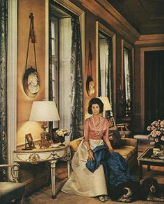 Evangeline Bruce, wife of Ambassador Bruce in the drawing room of Winfield House, the US Ambassador's residence in Regent's Park. Photographed by Beaton. Vogue, September 1964.
