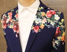**Creative Floral Print Navy Blue In Style Short Sleeve Blazer of High Quality A