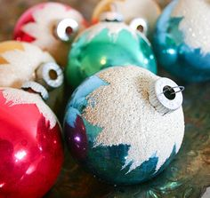 Vintage Christmas Ornaments with White Flocking by RobertaGrove