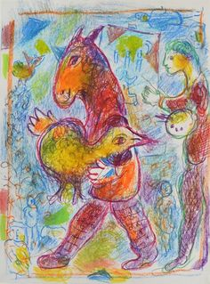 Marc Chagall, Homme Cheval avec Coq Jaune - 1978 on ArtStack #marc-chagall #art