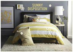Gray + yellow bedroom: Benjamin Moore 'Shadow Gray' in West Elm | Flickr - Photo Sharing!