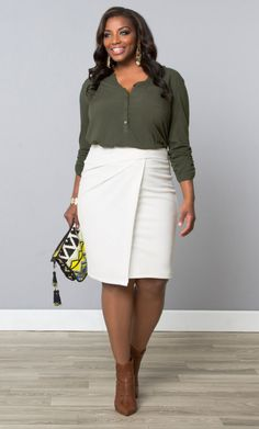 Uptown Faux Wrap Skirt, Fresh Linen (Women's Plus Size) From the Plus Size Fashion Community at www.VintageandCurvy.com
