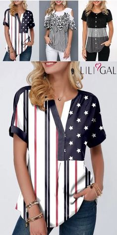 Of July Outfits for Womens: flag day blouse, cute tops for of July, casual t shirts, short sleeve summer. Summer Tops, Summer Blouses, Spring Summer, Fashion Tips For Women, Womens Fashion, Fashion Trends, Ladies Fashion, Tops Bonitos, Womens Trendy Tops