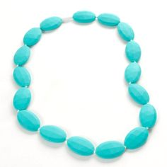 Sassy Baby Beads Turquoise Oval Chew Teething Beads Necklace