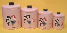 Retro pink rooster canisters.