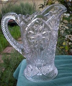 Lovely Vintage Pressed Glass Pitcher by 4HollyLaneAntiques on Etsy, $78.00