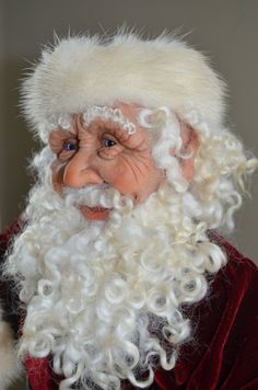 checking out this Etsy site! A hand sculpted hand crafted Old World Santa by AupetitMarket Father Christmas, Felt Christmas, Vintage Christmas, Merry Christmas, Christmas Things, Clay Dolls, Art Dolls, Primitive Santa, Santa Doll