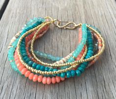Multi Strand Beach Bracelet / Genuine by YellowMangoBracelets