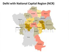 Delhi with National Capital Region (NCR) - Editable PowerPoint Map Slides