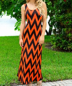 Another great find on #zulily! Orange & Black Chevron Cutout Maxi Dress by Modern Touch #zulilyfinds