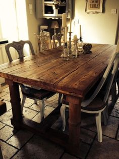 c8a1fa8b586 Details about French shabby chic Solid rustic beams reclaimed wood dining  table Large 6 8 seat