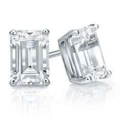 14k White Gold 4-Prong Basket Emerald Cut Diamond Stud Earrings 1.00 ct. tw. (H-I, I1)