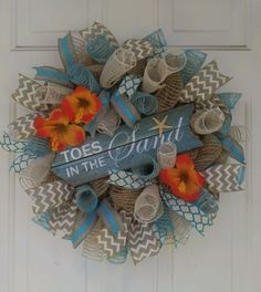 Beach ocean coastal nautical tropical mesh wreath