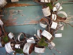 Birch bark moss wreath. @Sue Swenson, you could try making this next winter.