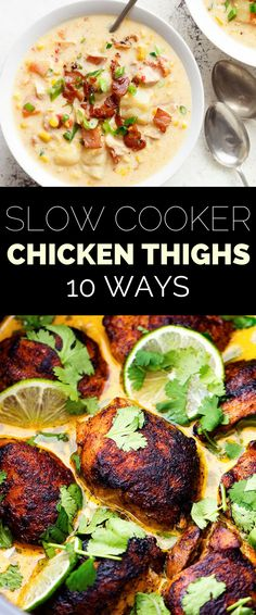 Budget-friendly chicken thighs meet all the convenience and utility of your slow cooker! PERFECT for busy weekdays. Chicken Thighs Slow Cooker Recipes, Chicken Thighs Soup, Slow Cooker Chicken Thighs, Slow Cooked Meals, Crock Pot Slow Cooker, Crock Pot Cooking, Crockpot Recipes, Chicken Recipes, Cooking Recipes
