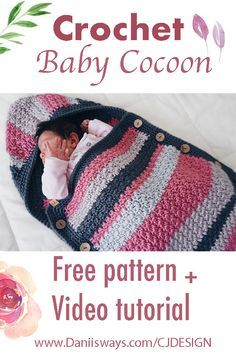 Beautiful and easy Crochet baby Cocoon. This project is super easy to make and o… Beautiful and easy Crochet baby Cocoon. This project is super easy to make and o…,Strick-Häcker Beautiful and easy Crochet. Crochet Baby Cocoon Pattern, Newborn Crochet, Crochet Blanket Patterns, Baby Blanket Crochet, Baby Patterns, Knitting Patterns, Crochet Baby Clothes, Crochet Baby Hats, Baby Sack