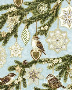Evergreen - Tree Ornaments & Sparrows - Iced Blue/Gold