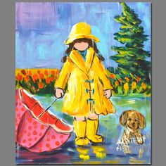 Katerina Mertikas - Recherche Google Painting People, Painting For Kids, Painting & Drawing, Umbrella Art, Under My Umbrella, Art N Craft, Baby Art, Small Art, Illustrations