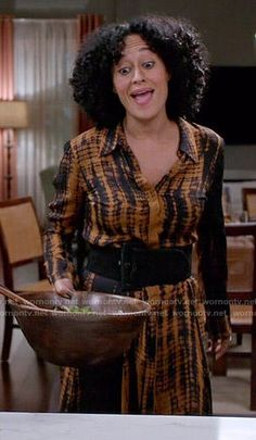 Rainbow's orange tie dyed shirtdress on Black-ish.  Outfit Details: https://wornontv.net/55266/ #Blackish