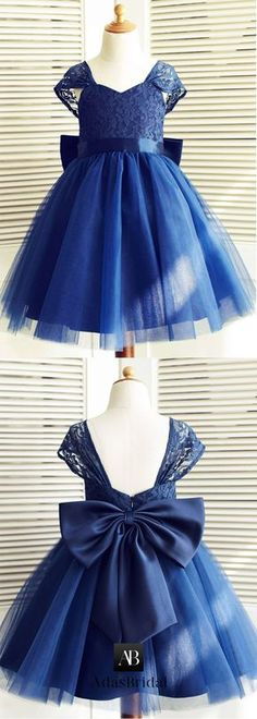 Delicate Tulle & Lace V-neck Neckline Cap Sleeves A-line Flower Girl Dresses With Bowknot Toddler Flower Girl Dresses, Girls Blue Dress, Lace Flower Girls, Little Girl Dresses, Toddler Dress, Baby Dress, Girls Dresses, Baby Flower, Flower Girl Dress Navy