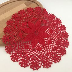 Round crochet doily in assorted colors. Material: egyptian cotton Color: Dark gray, sage green, red Diameter: 13 inch / 33 cm Package Contents: N. 1 doily On order: - wide choice of colors - higher quantities Handmade Home, Handmade Gifts, Doilies For Sale, Cotton Lights, Mug Rugs, Table Toppers, Crochet Doilies, Christmas Gifts, Red Christmas