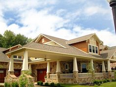 House Plan 74417 - Craftsman Style House Plan with 6856 Sq Ft, 5 Bed, 6 Bath, 4 Car Garage Garage House Plans, Craftsman Style House Plans, Car Garage, Craftsman Homes, Craftsman Decor, Porte Cochere, Bungalow Homes, Bungalow Exterior, Ranch Homes