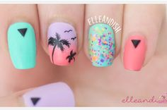 Do you want to bring in the summer sunset with you? Check out this tutorial by Janel Estep to bring in the tropical feels with this classy nail art design. | Nail Designs