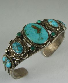 Outstanding Rare Navajo Blue Gem Mine Turquoise Row Bracelet