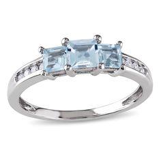 Miadora 10k White Gold Aquamarine and 1/10ct TDW Diamond Ring